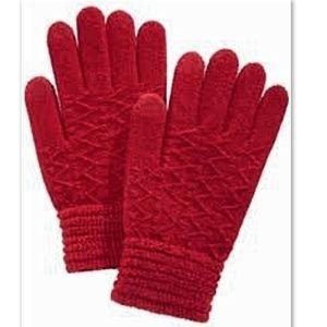 Steve Madden Touchscreen Gloves Metallic Red OSFM
